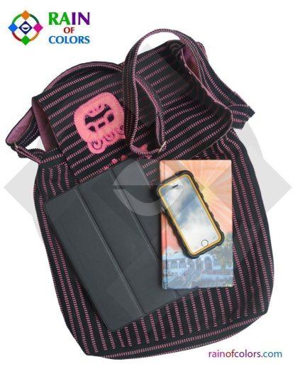 Messenger Bag in Pink and Black colors handmade in Guatemala