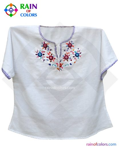 Guatemalan Blouse with flowers embroidered by rain of colors
