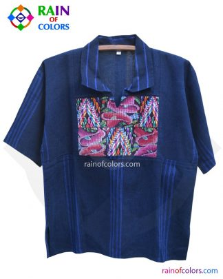 Guatemalan embroidered shirt blue handmade by Rain of Colors